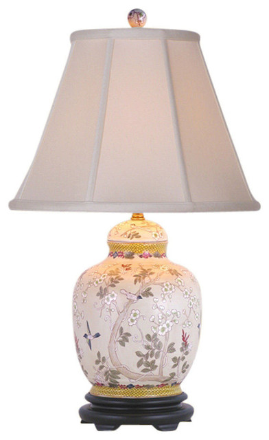 "Multicolor Chinese Floral Bird Motif Porcelain Ginger Jar Table Lamp 26.5""."