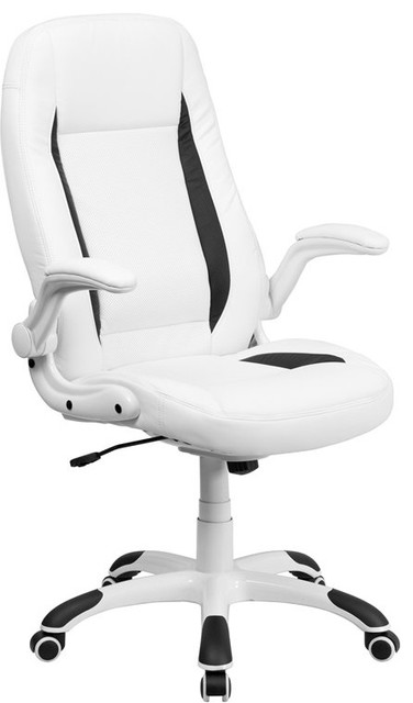 Bridgettine High-Back White Leather Executive Swivel Chair With Flip-Up Arms.