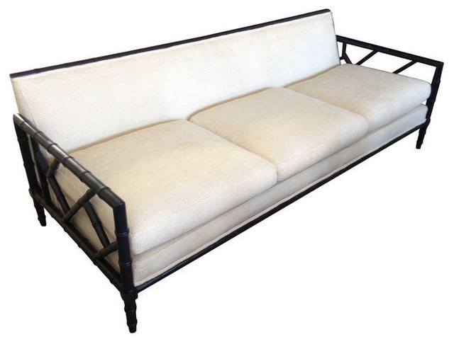 Mid Century Faux Bamboo Frame Sofa New Upholstery