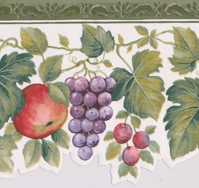 Red Apple Purple Grape Rouge Berries On Vine White Wallpaper Border Retro Design. -1