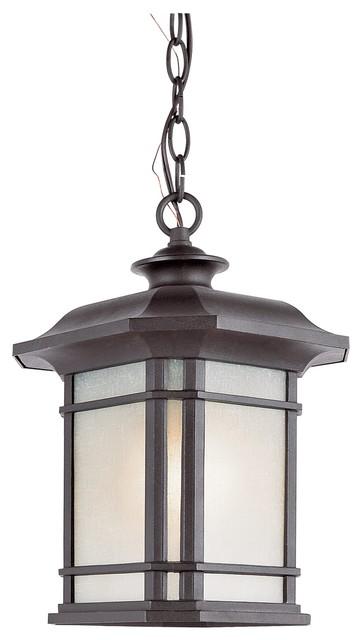 Trans Globe Lighting Pl 5825 Bk Corner Window Transitional Outdoor Hanging Light Craftsman