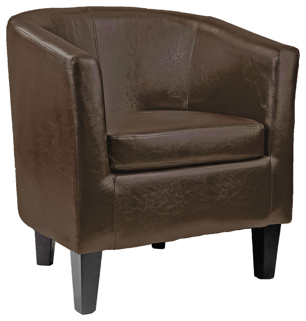 Antonio Tub Chair, Dark Brown Bonded Leather - Transitional ...
