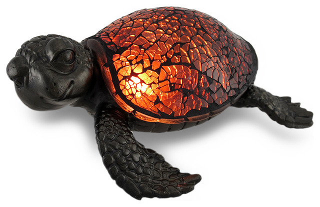 Amber Crackled Glass Mosaic Sea Turtle Accent Lamp Beach Style