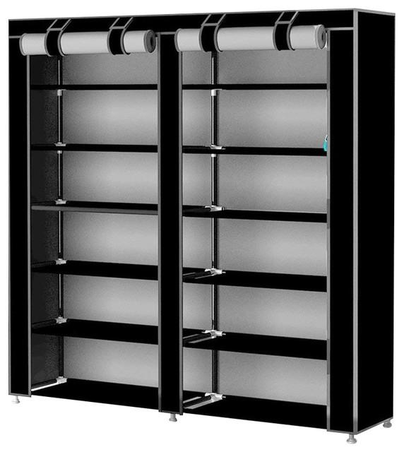 Modern Stylish Shoes Storage Rack, Waterproof Fabric With 7-Inner Shelf, Black