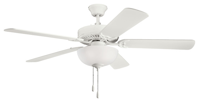Kichler Basics Select Ceiling Fan, White Etched Glass, 52.