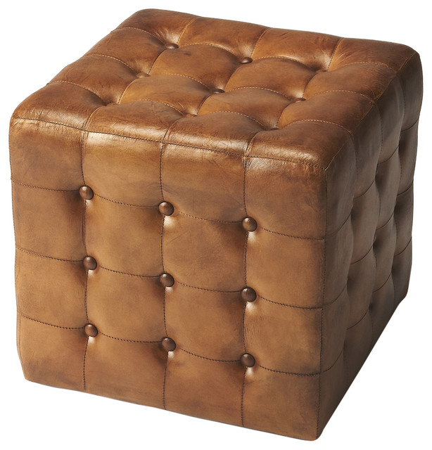 Incredible Butler Leon Brown Leather Ottoman Ibusinesslaw Wood Chair Design Ideas Ibusinesslaworg
