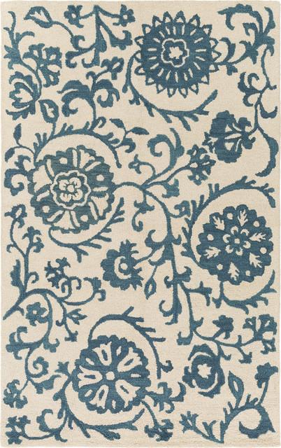 Artistic Weavers Rhodes Maggie Teal Blue Off White Rug
