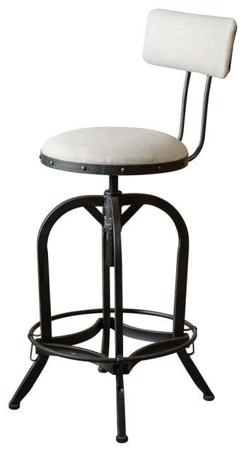 Contemporary Adjustable Fabric Off-White Swivel Barstool With Backrest