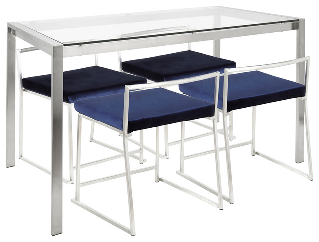 Fuji 5-Piece Contemporary/Glam Dining Set, Blue Velvet, Clear Glass, Brushed Sta