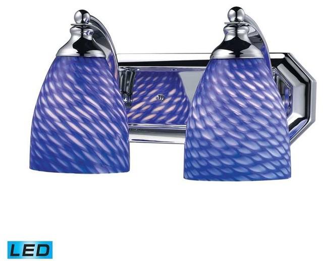 Bath Spa 2 Light Vanity Chrome Sapphire Glass