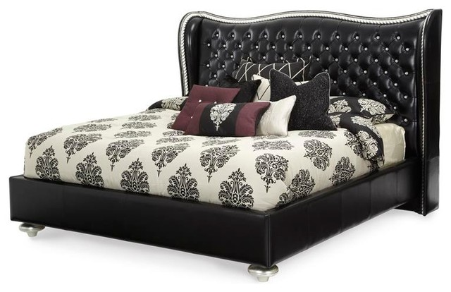Hollywood S Starry Night Black Tufted Platform Bed By Aico Amini Cal King