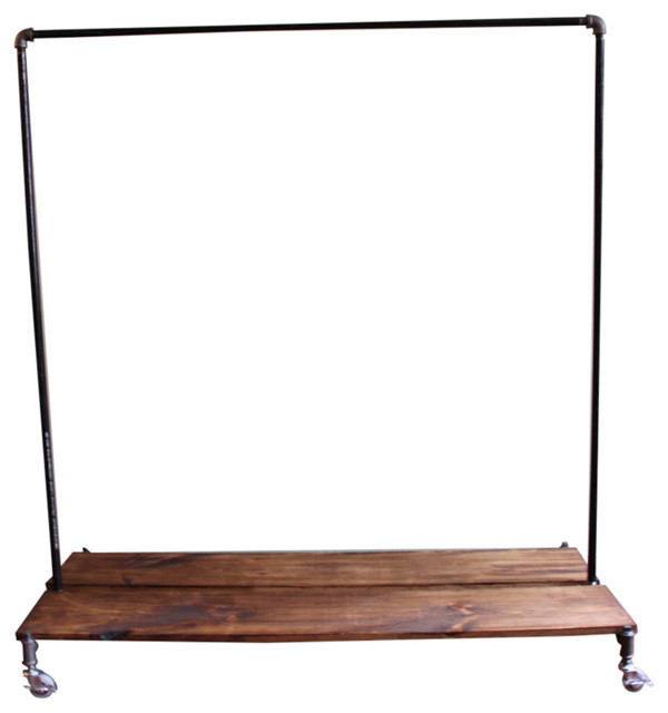 Merveilleux 5u0027 Clothing Rack With Distressed Wood Platforms