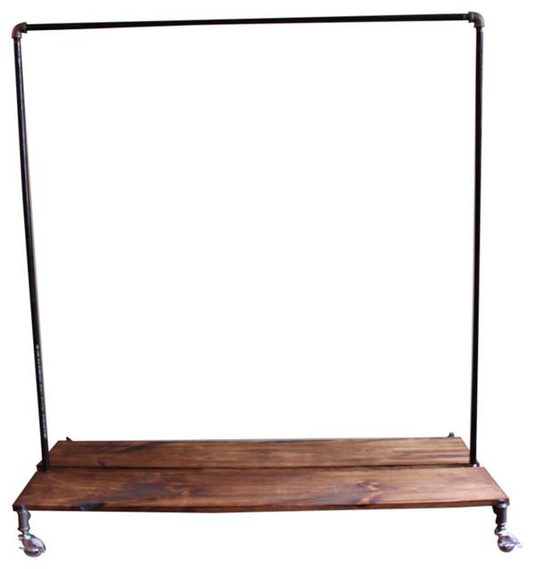 5 39 clothing rack with distressed wood platforms. Black Bedroom Furniture Sets. Home Design Ideas