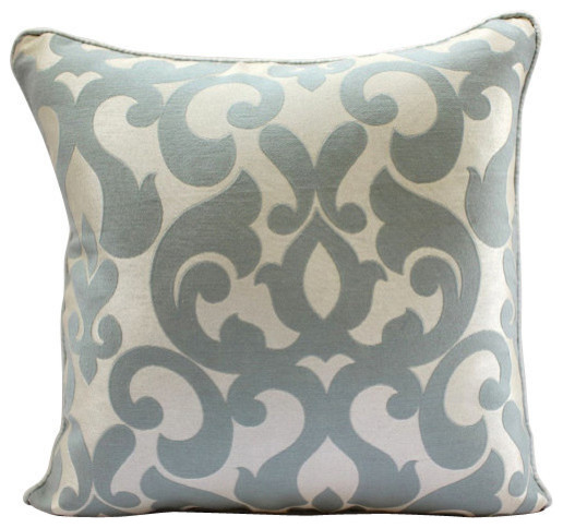 Gray Damask Jacquard Weave Blue Throw Cushion Covers Forever Transitional Ter Cushions By The Homecentric