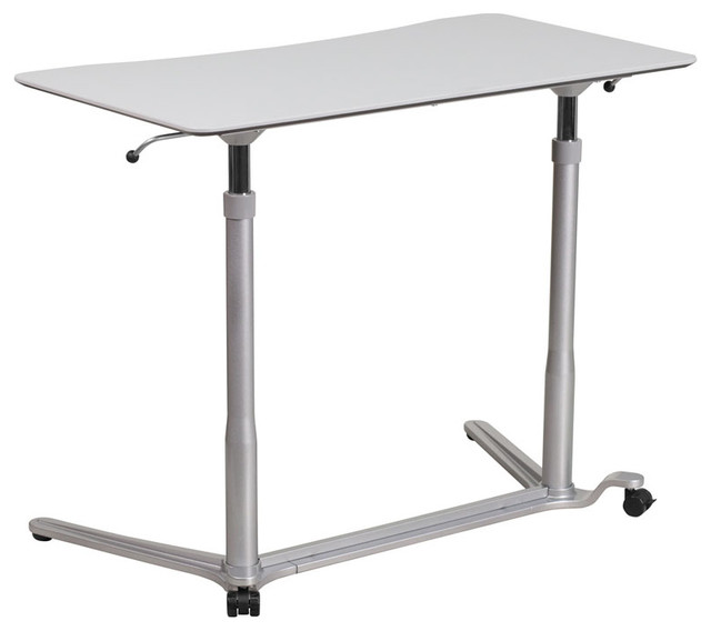 Offex Height Adjustable Sit-Down/Stand-Up Computer Desk, Light Gray