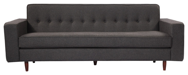 Eleanor Midcentury Modern Sofa, Charcoal, Material: Cashmere Midcentury  Sofas