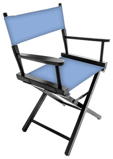 """Gold Medal 18"""" Black Contemporary Director's Chair, Clear Sky"""