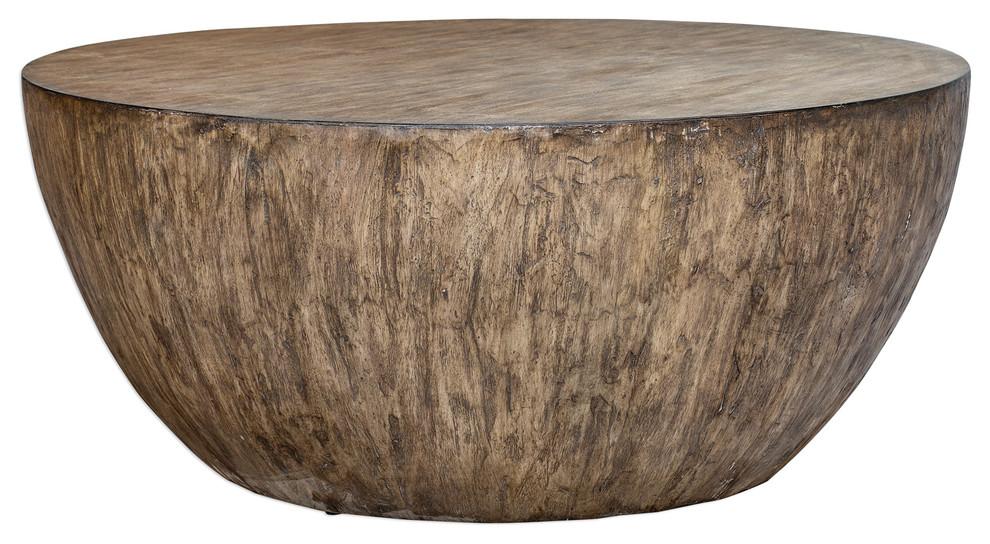 Minimalist Large Round Light Wood Coffee Table Modern Geometric Block
