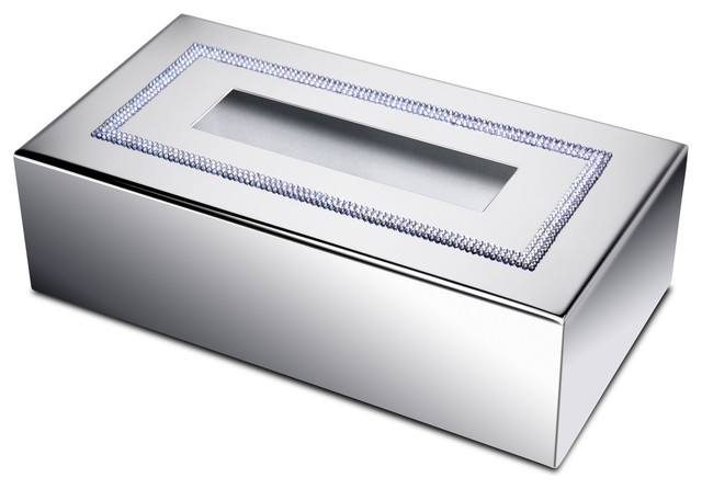 Shinelight Rectangular Tissue Box Cover With Swarovski Crystals