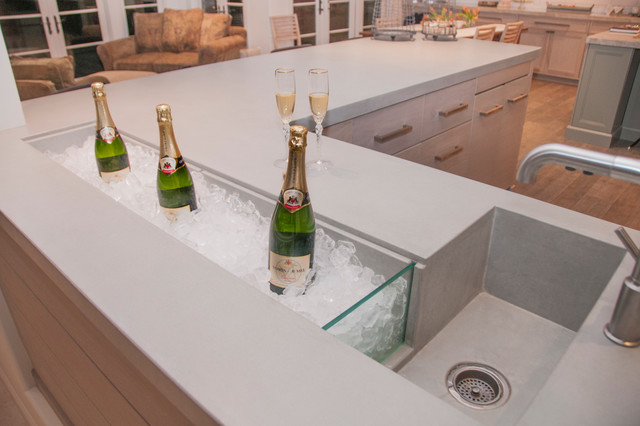 Residential Concrete Bar With Integrated Champagne Trough And Sink  Contemporary Home Bar