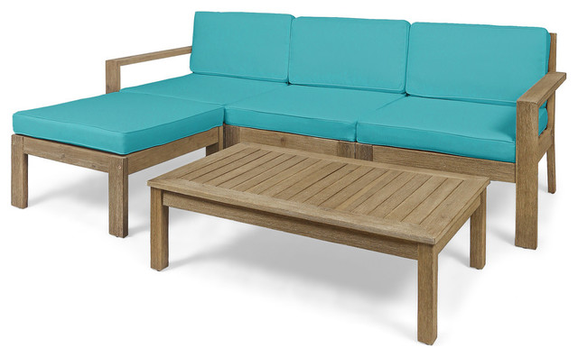 Makayla Ana Outdoor 3 Seater Acacia Wood Sofa Sectional With Cushions, Teal