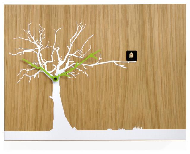 Cucuruku 1769 Oak Wood White Tree Wall Clock