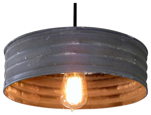 Metal sifter pendant light rustic pendant lighting for Houzz rustic lighting