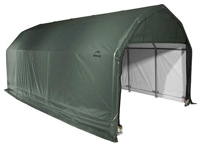 12&x27;x24&x27;x11&x27; Barn Style Shelter, Green.