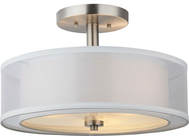Hardware house el dorado semi flush ceiling fixture satin for Semi flush mount lighting modern