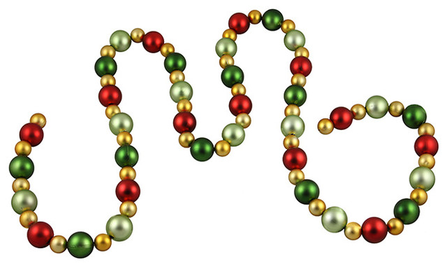 Christmas Ball Garland.6 Shatterproof Satin Gold Red And Green Christmas Ball Garland Unlit