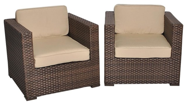 Bellagio Deluxe 2 Piece Wicker Patio Armchair Set With