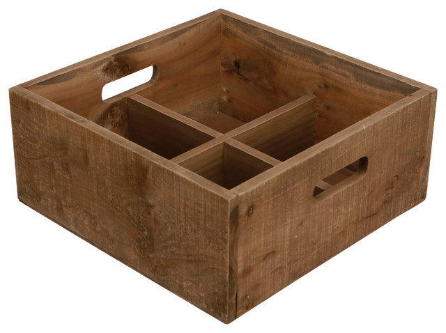 Wooden Square 4 Compartment Caddy.