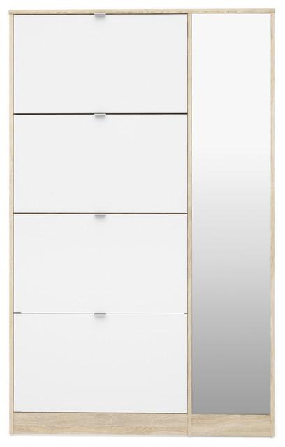 Bright Shoe Cabinet 4 Flap Doors, 1 Mirror Door, Oak Structure/White High