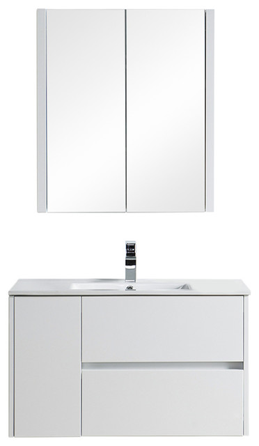 """BLOSSOM VALENCIA 48/"""" WALL-MOUNTED SINGLE MODERN VANITY IN GLOSSY WHITE"""