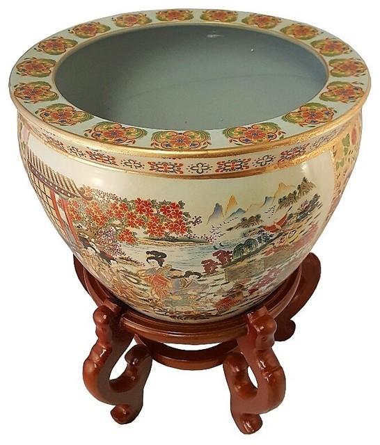 Chinese Porcelain Fish Bowl Planter Satsuma Geishas 10
