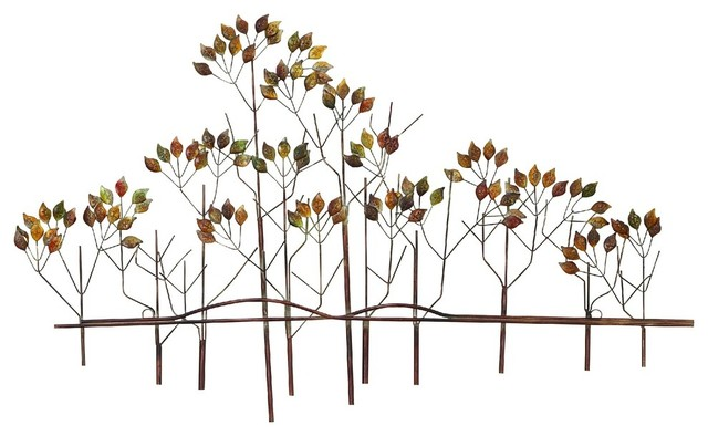 Stylish And Simple Nature Tree Leaves Metal Wall Art Bronze Finish