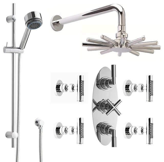 Merveilleux Helix Shower System Chrome With Cloudburst Head Multi Function Handheld U0026 4  Jets