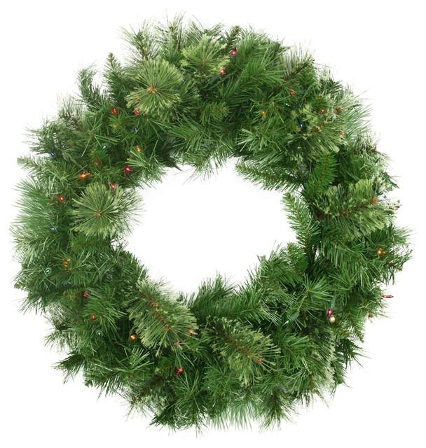 "24"" Pre-Lit Mixed Cashmere Pine Artificial Christmas Wreath, Multi-Color Lights."