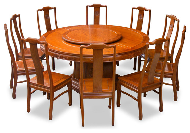 """66"""" Rosewood Longevity Design Round Dining Table With 10 Chairs"""