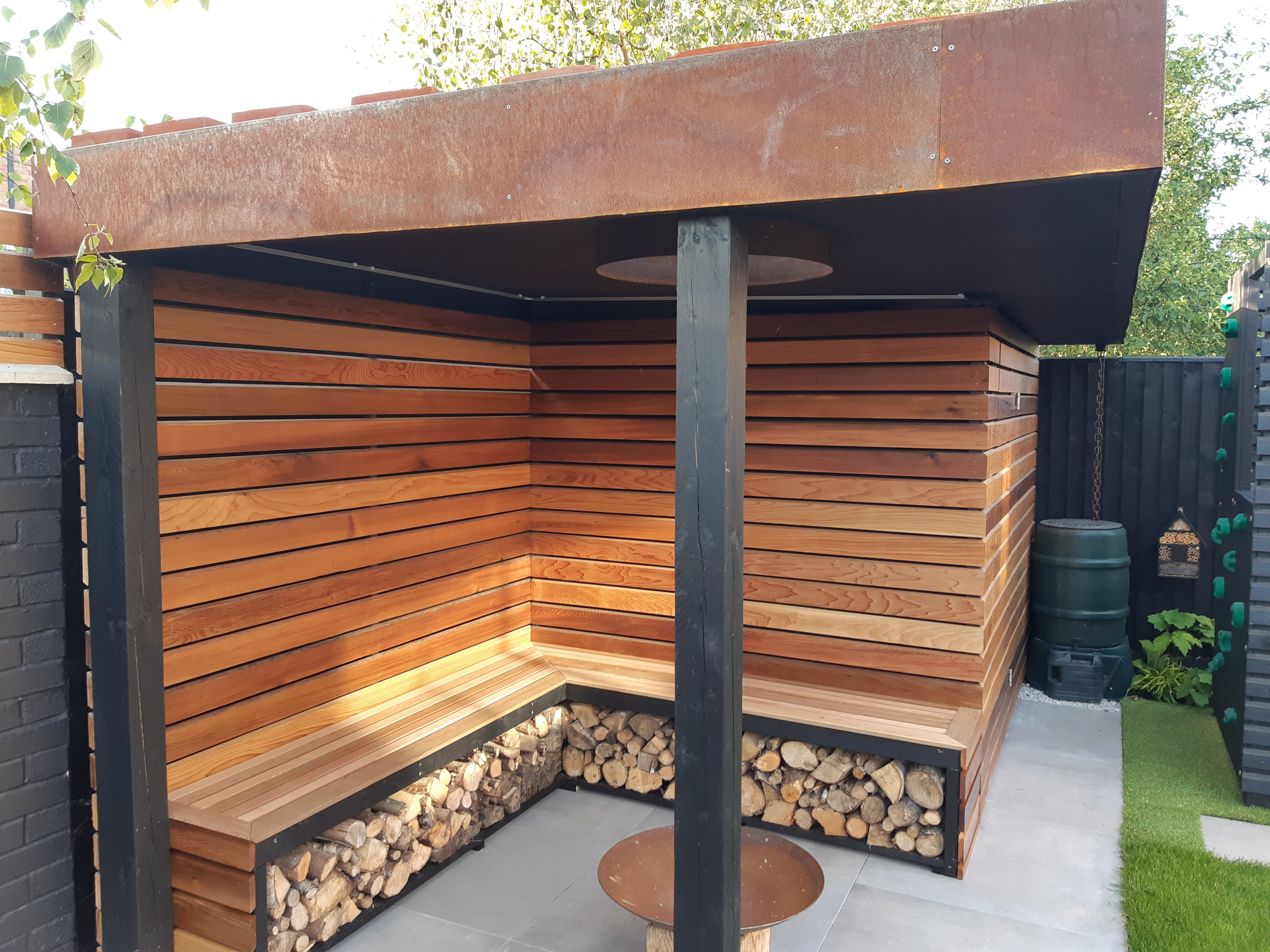 Bespoke shed and covered seating area