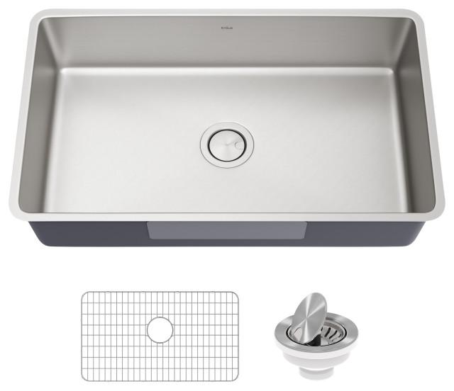 """Kraus Dex 32"""" Undermount Antibacterial Stainless Steel 1-Bowl Kitchen Sink"""