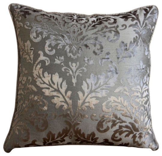 "Damask 20""x20"" Burnout Velvet Gray Throw Pillow Covers, Gray Silver Damask."