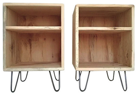Mid Century Modern Double Cubby Side Table Set Midcentury Nightstands And  Bedside