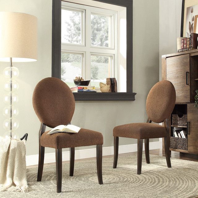 Inspire q paulina chocolate chenille round back dining for Inspire q dining room chairs