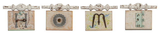Davis Found Object Home Wall Plaques, 4-Piece Set.