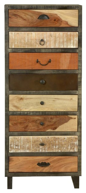 Waco Wooden Patches Mango Wood 8 Drawer Tall Dresser