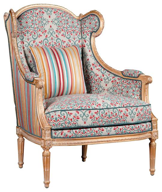 Jana French Global Bazaar Walnut Wood Floral Upholstered