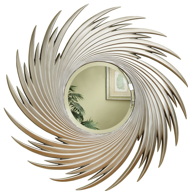 Coaster Mirror, Antique Silver Finish.