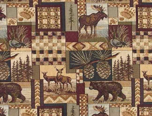 Rustic Log Cabin Lodge Upholstery Fabric