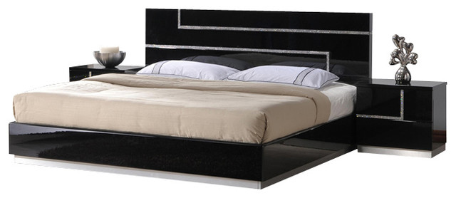 J M Lucca Black Lacquer With Cystal Accents Queen Size Bedroom Set
